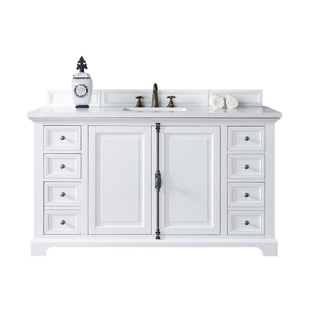 Providence 60 in. W Single Vanity in Cottage White with Quartz Vanity Top in White with White Basin