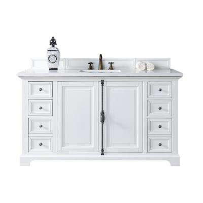 Providence 60 in. W Single Vanity in Cottage White with Quartz Vanity Top in White with White Basin