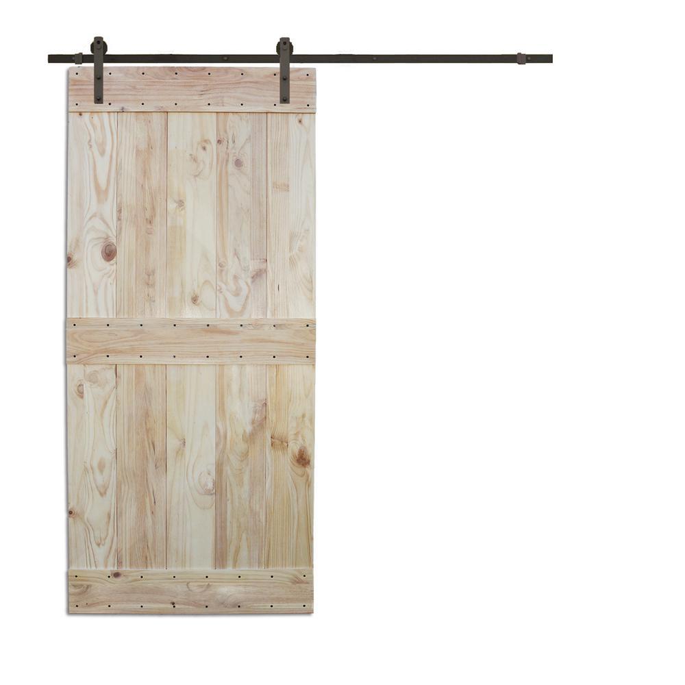 36 in. x 84 in. 2-Side Mid-Bar Wood Color Pine Slab Interior Barn Door with 6 ft. Sliding Door Hardware Kit
