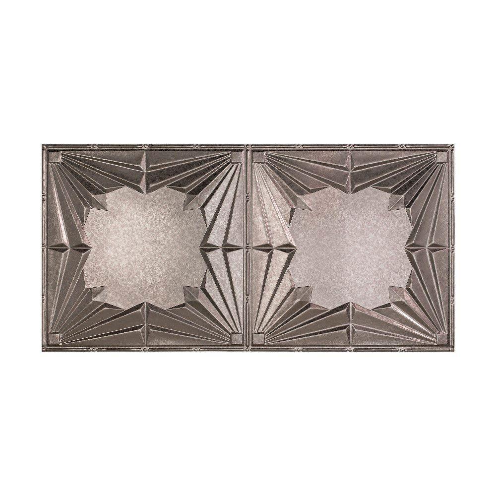 Art Deco - 2 ft. x 4 ft. Glue-up Ceiling Tile in Galvanized Steel