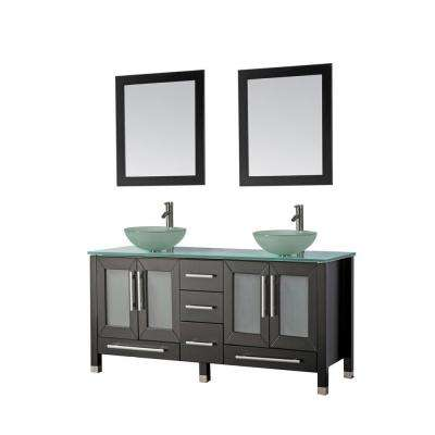 Cuba 61 in. W x 20.5 in. D x 36 in. H Vanity in Espresso with Glass Vanity Top with Green Basins and Mirrors
