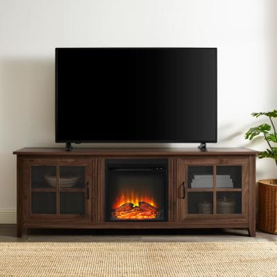 70 in. Dark Walnut Composite TV Stand 75 in. with Electric Fireplace