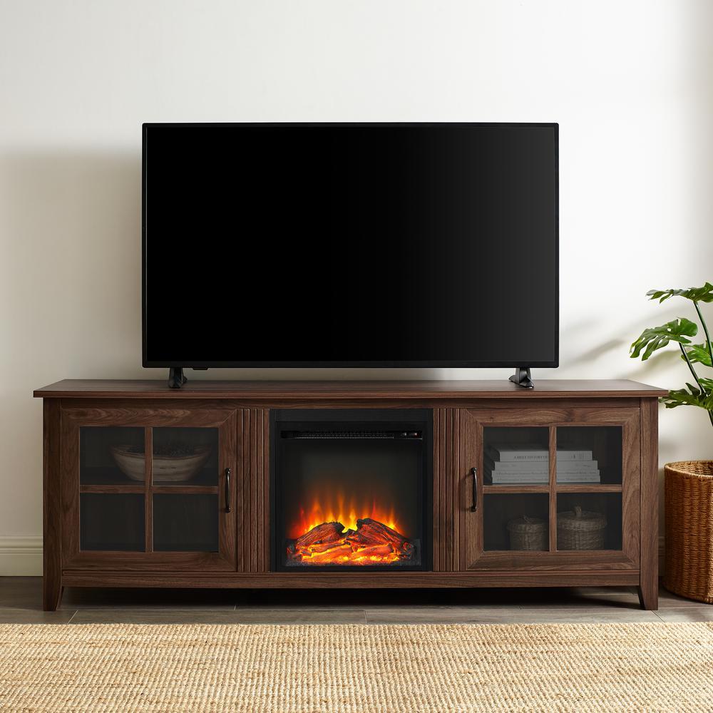 70 in. Dark Walnut Farmhouse Fireplace Wood TV Stand