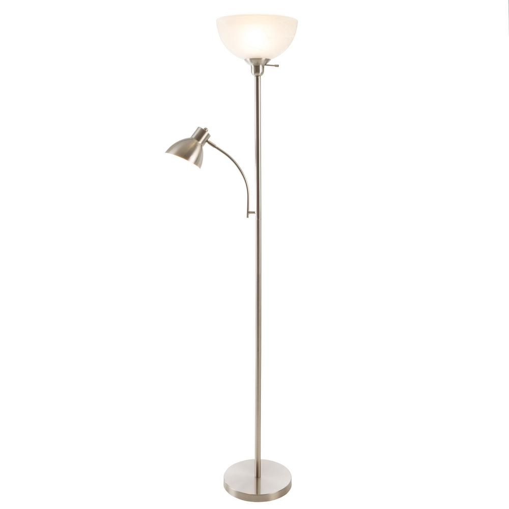 Satin Nickel Metal Torchiere Floor Lamp With Marbleized White Gl Shade