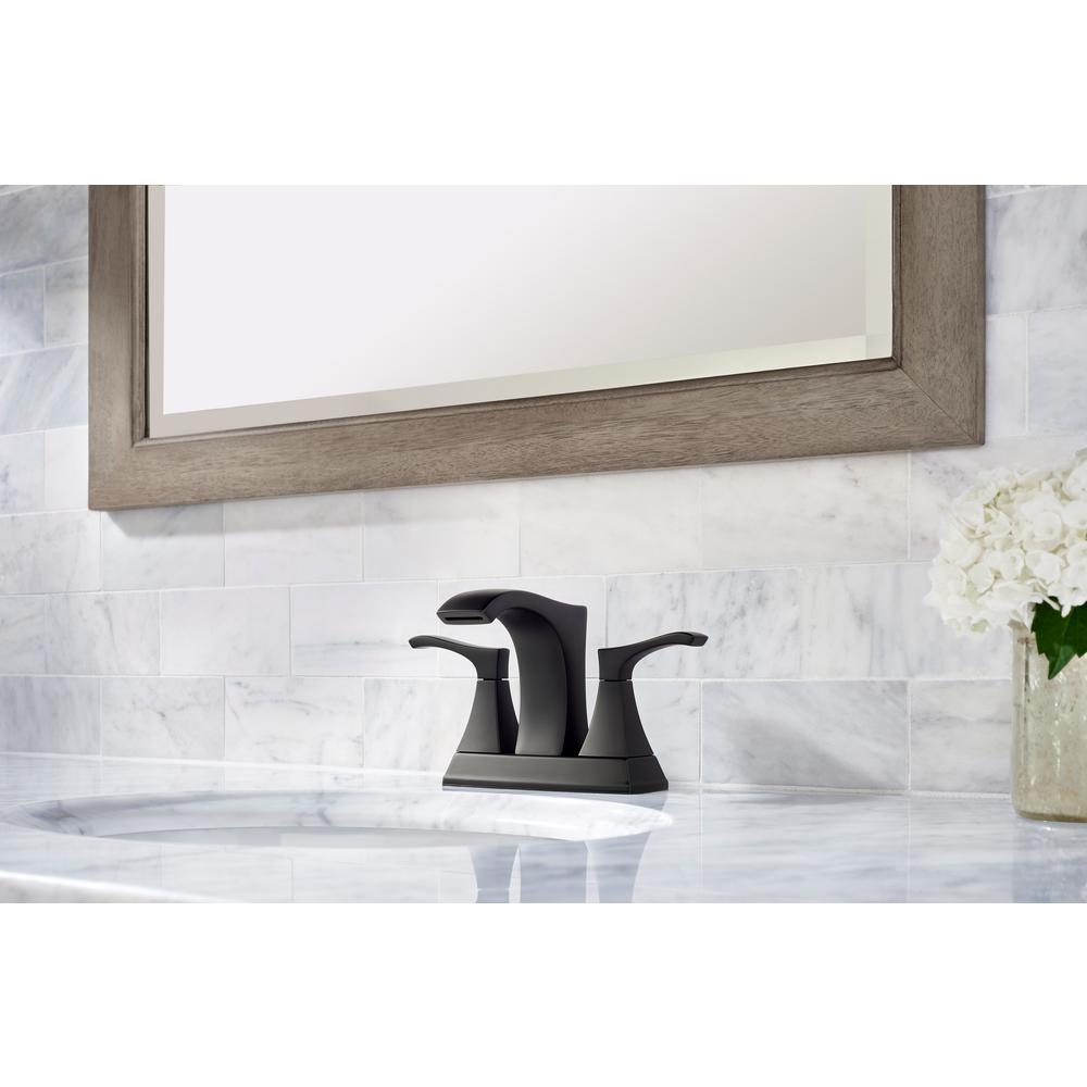 Venturi 4 in. Centerset 2-Handle Bathroom Faucet in Matte Black