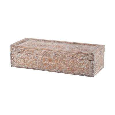 20 in. x 5 in. Whitewashed Carved Albasia Wood Decorative Box