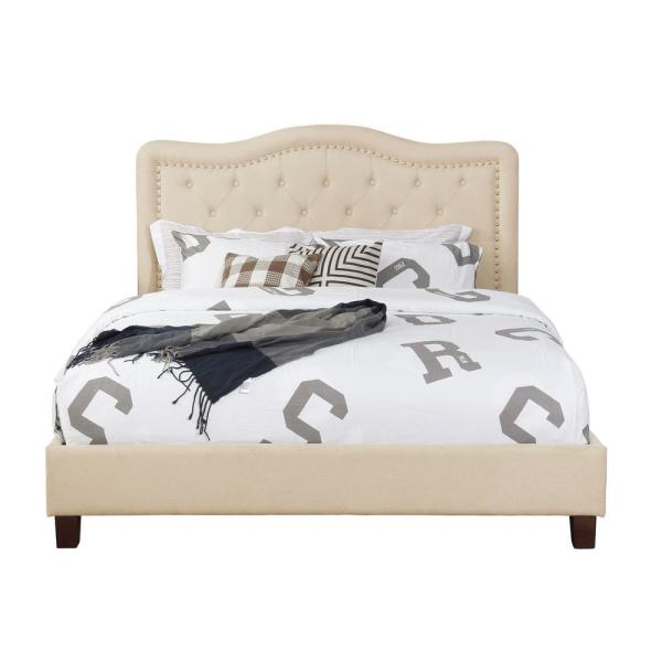 Beige Queen Size Upholstered Panel Bed with Nail Head