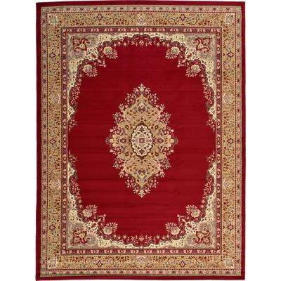 Mashad Burgundy 9 ft. 10 in. x 13 ft. Area Rug
