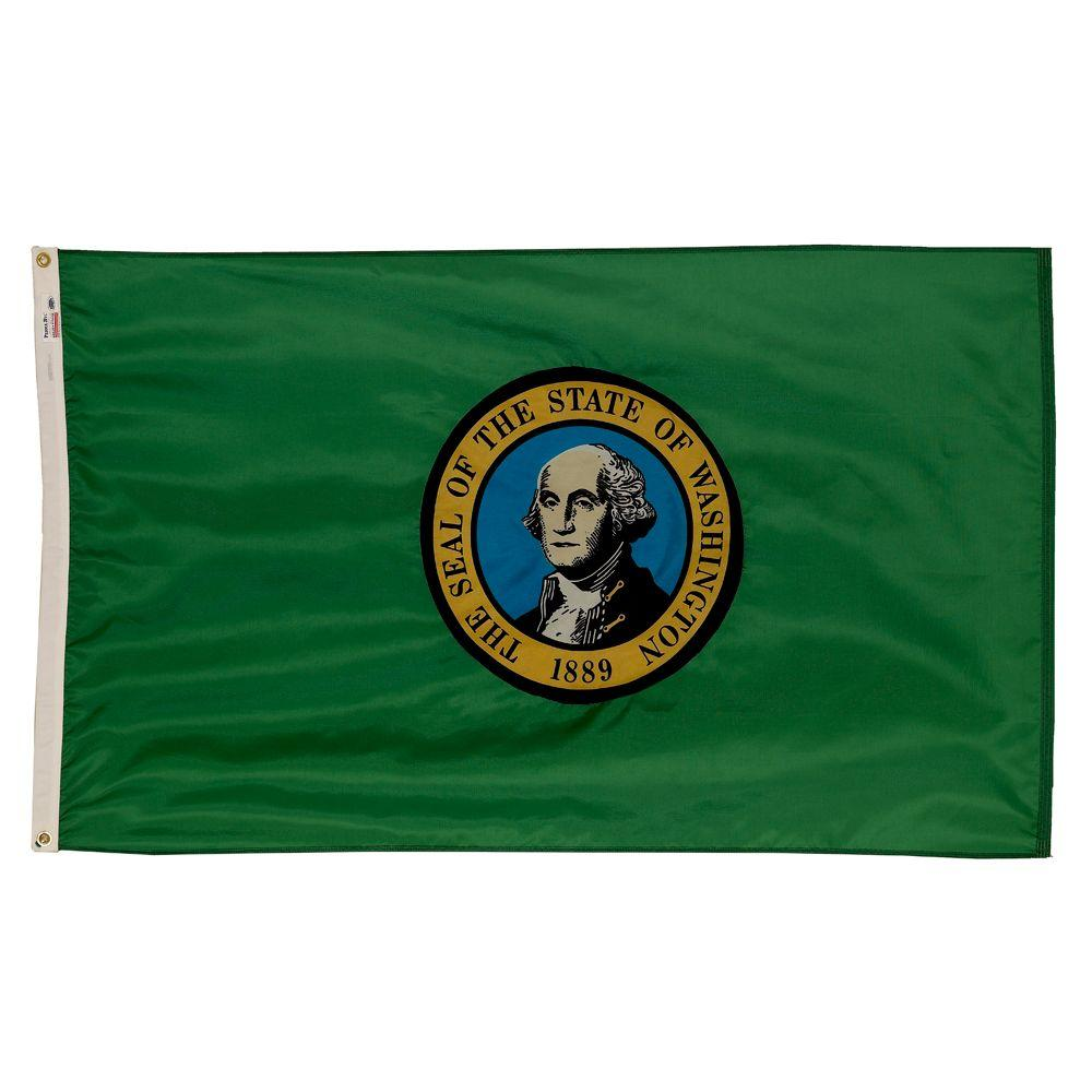 Valley Forge Flag 3 ft. x 5 ft. Nylon Washington State Flag