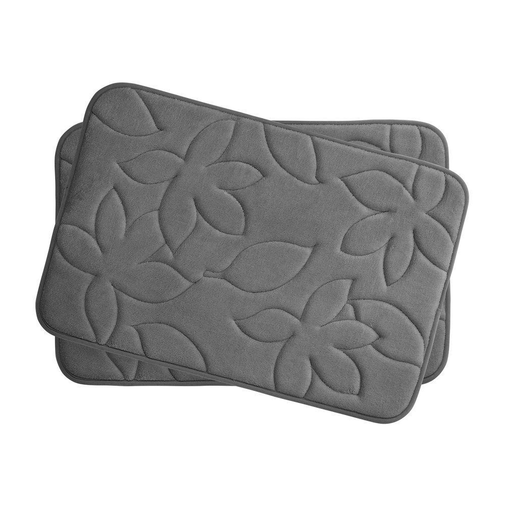 Blowing Leaves Dark Gray 17 in. x 24 in. Memory Foam 2-Piece Bath Mat Set