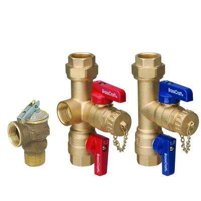 3/4 in. IPS x 3/4 in. IPS Tankless Water Heater Service Valves with 200,000 BTU Pressure Relief Valve