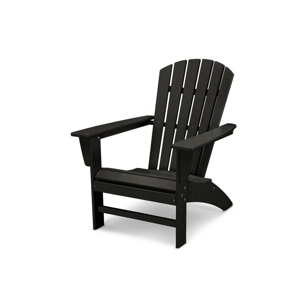 Traditional curveback black plastic outdoor patio adirondack chair