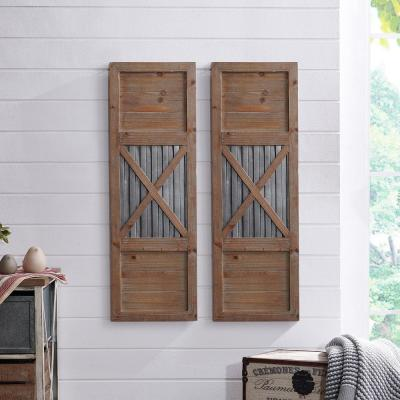 36 in. x 12 in. Raleigh Shutter Wooden Wall Plaque Set
