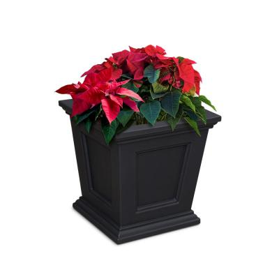 16 in. Square Black Resin Self-Watering Fairfield Planter