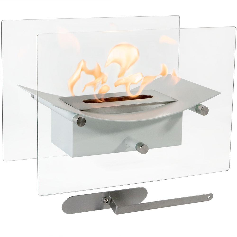 Zen 14 in. Bio-Ethanol Tabletop Fireplace in White