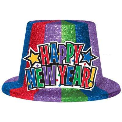 New Year's 5 in. Jewel Tone Glitter Top Hat (3-Pack)