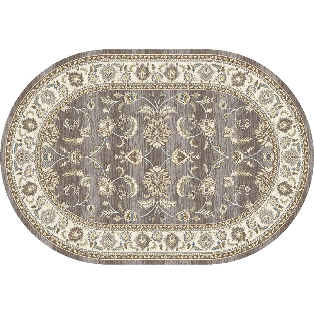 Art Carpet Arabella Scrollwork Gray 7 ft. x 10 ft. Oval Area Rug