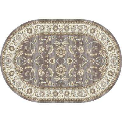 Arabella Scrollwork Gray 7 ft. x 10 ft. Oval Area Rug