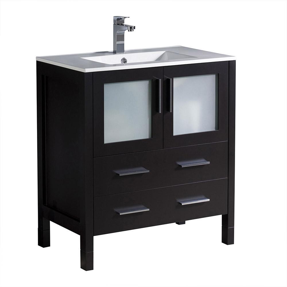 Torino 30 in. Bath Vanity in Espresso with Ceramic Vanity Top