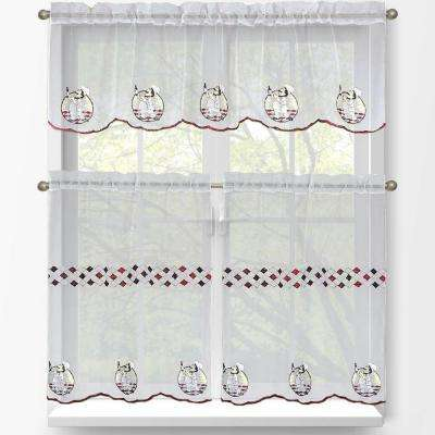 Sheer Happy Chef Embroidered 3-Piece Kitchen Curtain Tier and Valance Set
