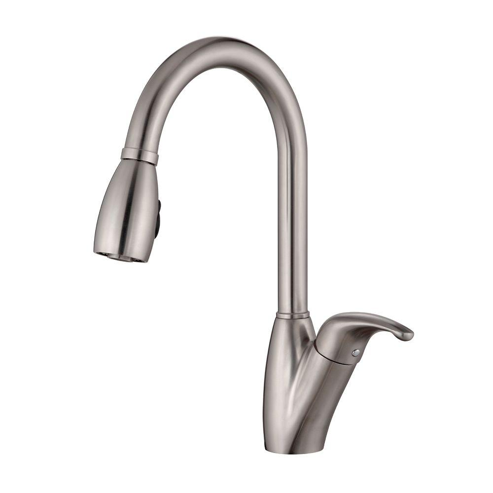 KRAUS Single-Handle Stainless Steel High Arc Pull-Down Kitchen Faucet with Dual-Function Sprayer