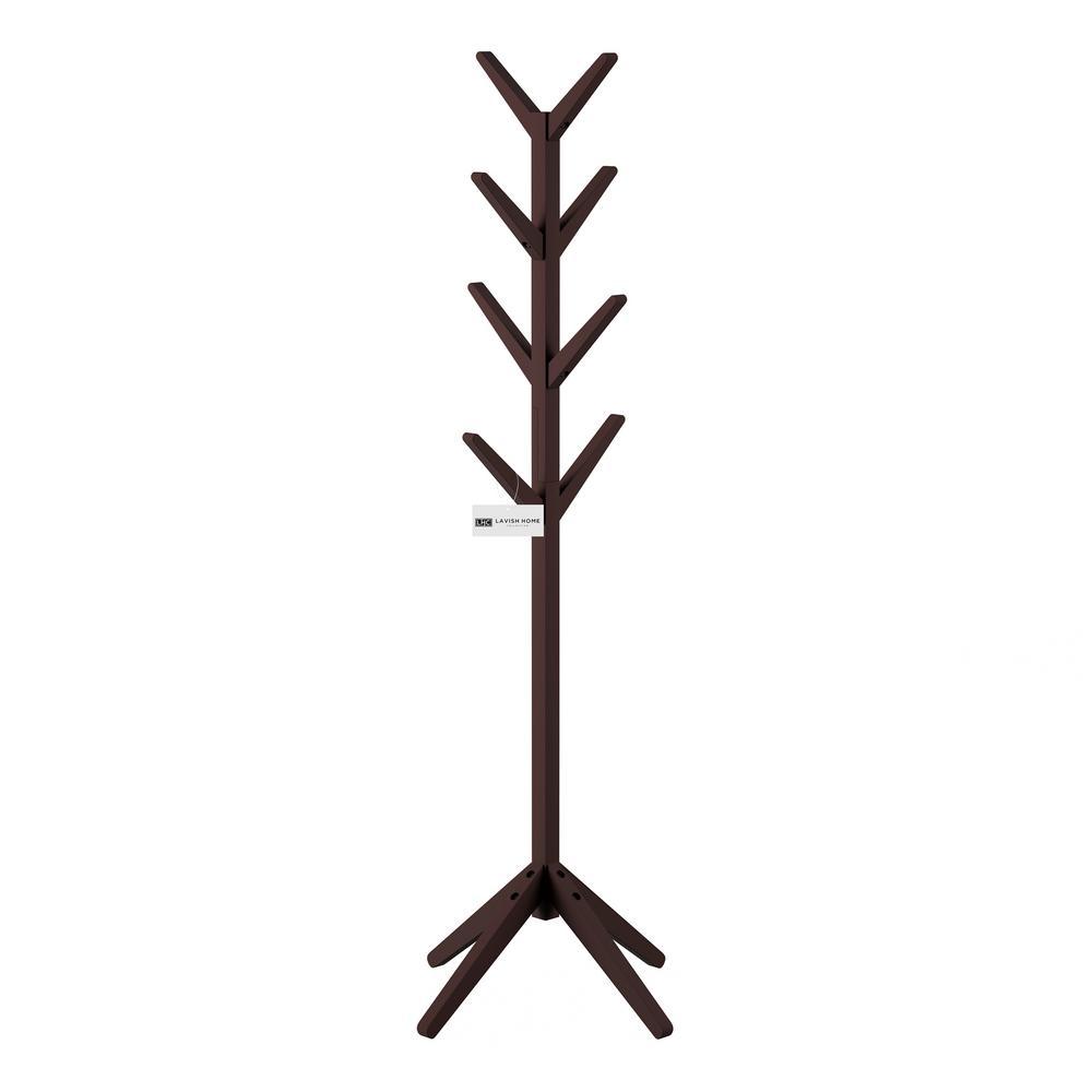 Lavish Home Espresso Brown 8 Hook Modern Freestanding Wooden Coat Tree Hw0200235 The Home Depot