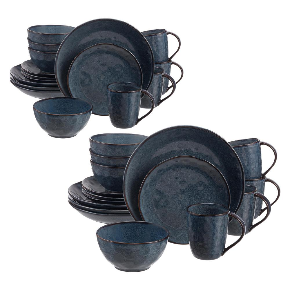 Home Decorators Collection Taite 32 Piece Reactive Glaze Midnight Blue Stoneware Dinnerware Set Service For 8 Thd0112 X 2 The Home Depot