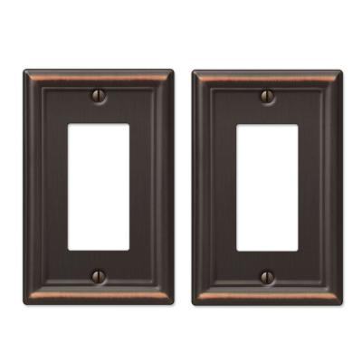 Ascher 1 Gang Rocker Steel Wall Plate - Aged Bronze (2-Pack)