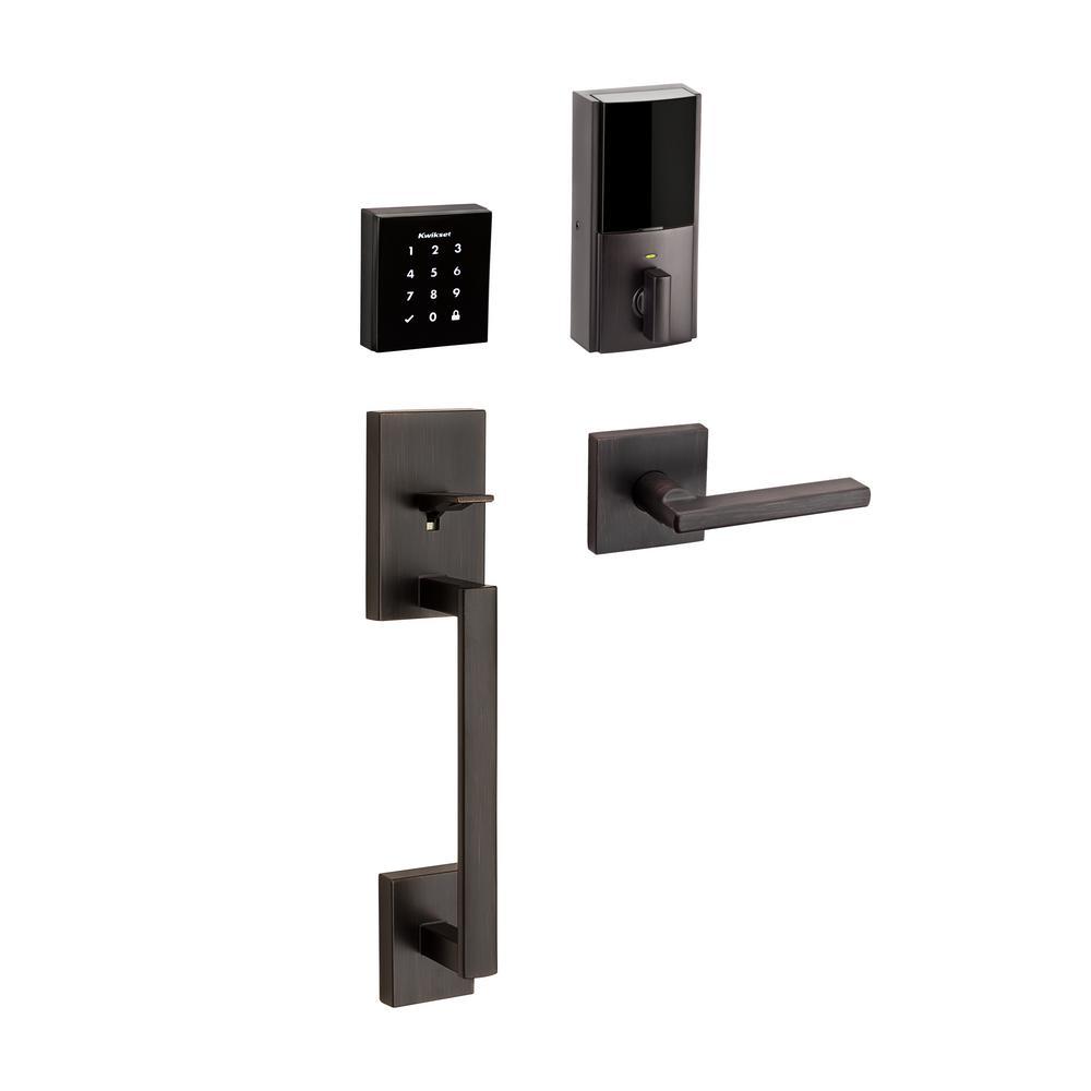 Kwikset Obsidian Venetian Bronze Keyless Electronic Touchscreen Deadbolt with San Clemente Handle Set and Halifax Interior Lever