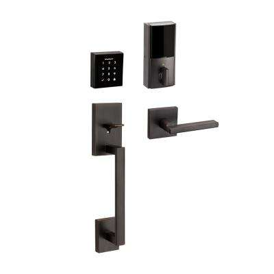 Obsidian Venetian Bronze Keyless Electronic Touchscreen Deadbolt with San Clemente Handle Set and Halifax Interior Lever