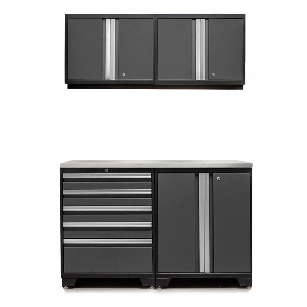 Pro 3.0 85 in. H x 56 in. W x 22 in. D 18-Gauge Welded Steel Stainless Steel Worktop Cabinet Set in Gray (5-Piece)
