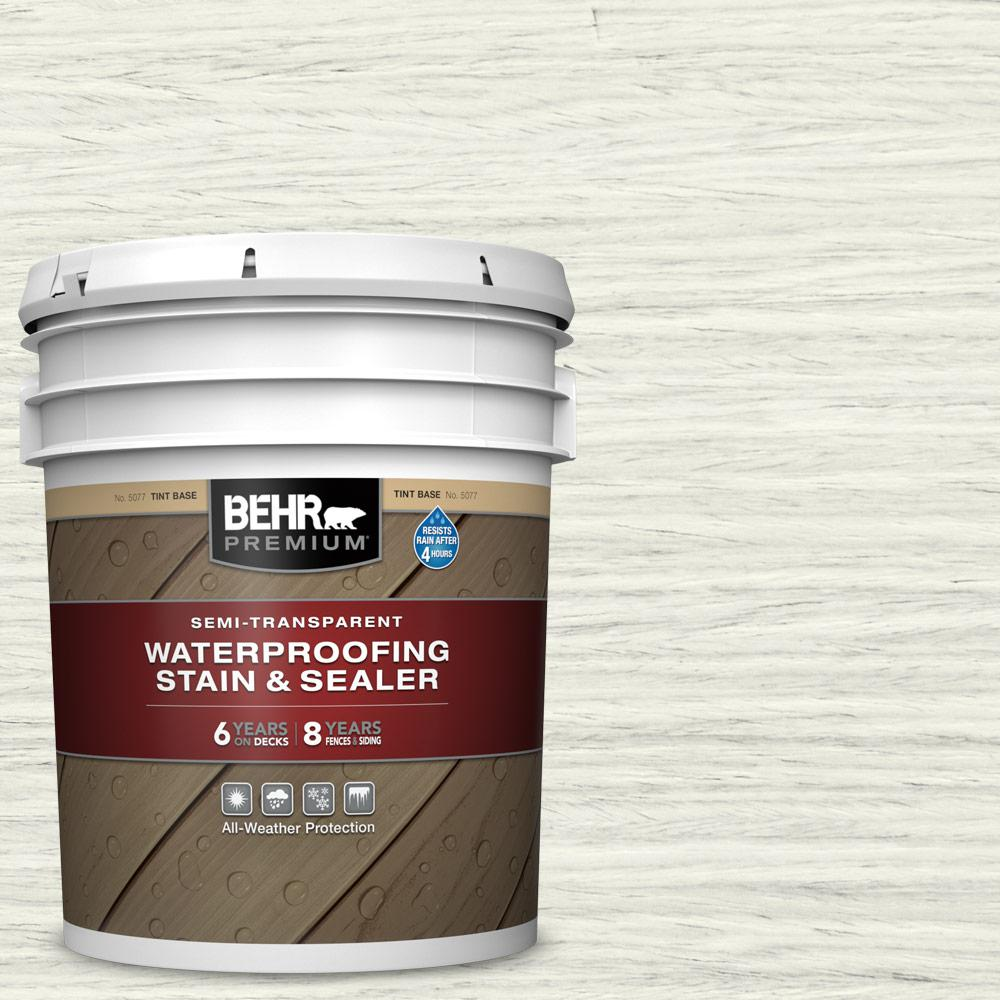 BEHR PREMIUM 5 gal. #ST-337 Pinto White Semi-Transparent Waterproofing Exterior Wood Stain and Sealer