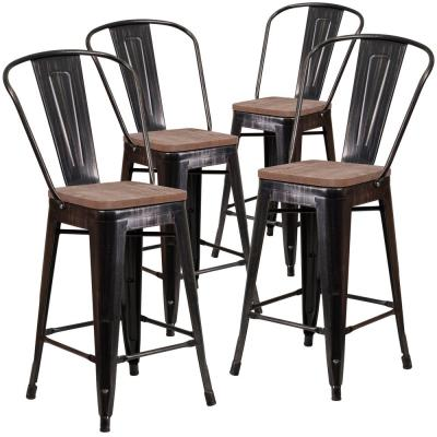 24.25 in. Black-Antique Gold Bar Stool (4-Pack)