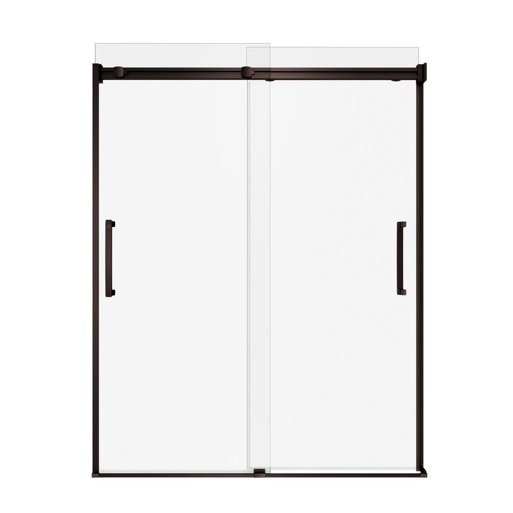 Artesia 56 in. - 59 in. x 74 in. Frameless Sliding Shower Door in Dark Bronze