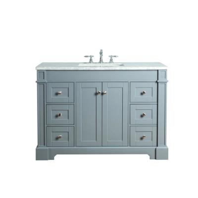 Seine 48 in. W x 22 in. D Bath Vanity in Gray with Marble Vanity Top in Carrara White with White Basin