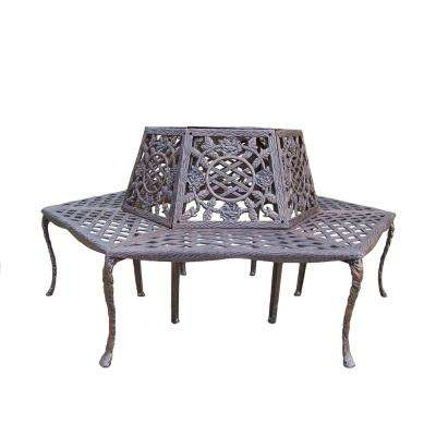 Tea Rose Cast Aluminum Tree Bench