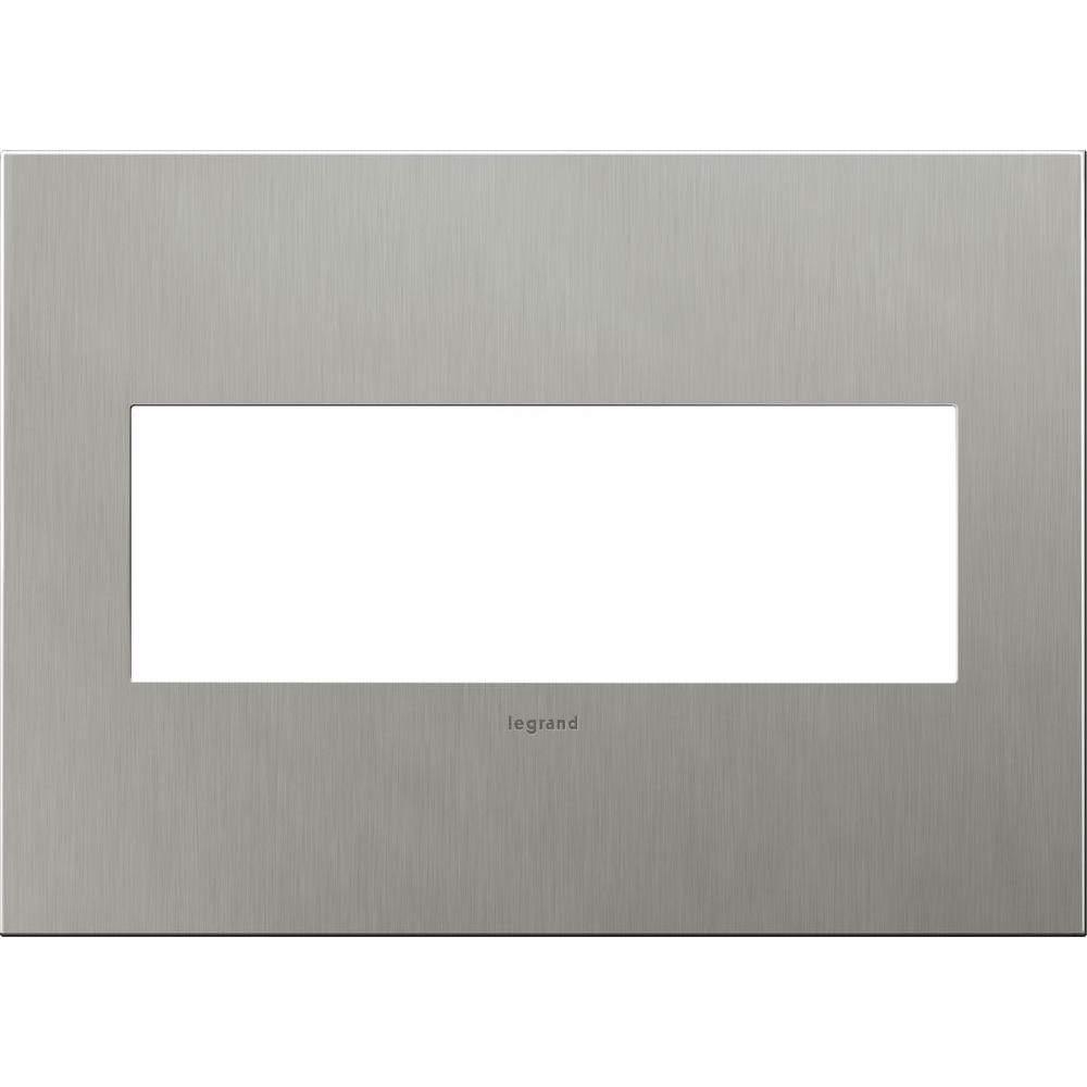 Legrand adorne 3 Gang 3 Module Wall Plate - Brushed Stainless Steel
