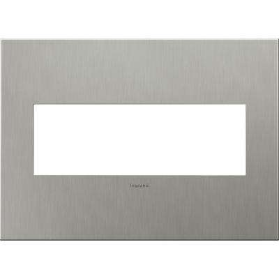 3 Gang 3 Module Wall Plate - Brushed Stainless Steel