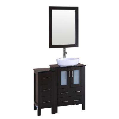 36 in. W Single Bath Vanity with Glass Vanity Top in Espresso with White Basin and Mirror