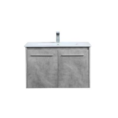 Timeless Home 30 in. W x 18.31 in. D x 19.69 in. H Single Bath Vanity in Concrete Grey with Porcelain and White Basin