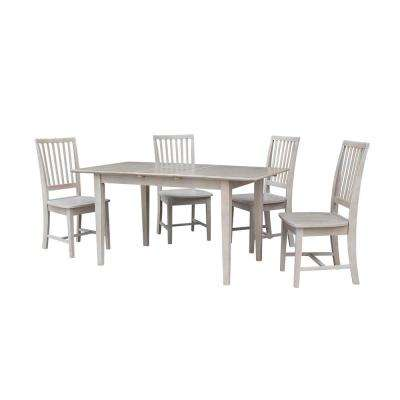 Leah 5-Piece Weathered Gray Dining Set with Butterfly Extension and Mission Chairs