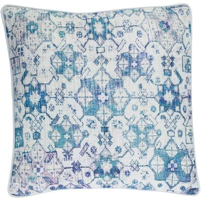 Rumbold Blue Geometric Polyester 22 in. x 22 in. Throw Pillow