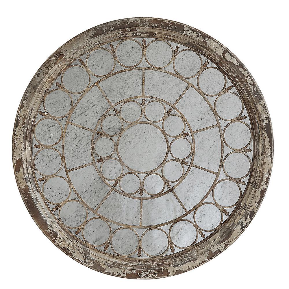 Round Pine Wood and Metal Decorative Mirror