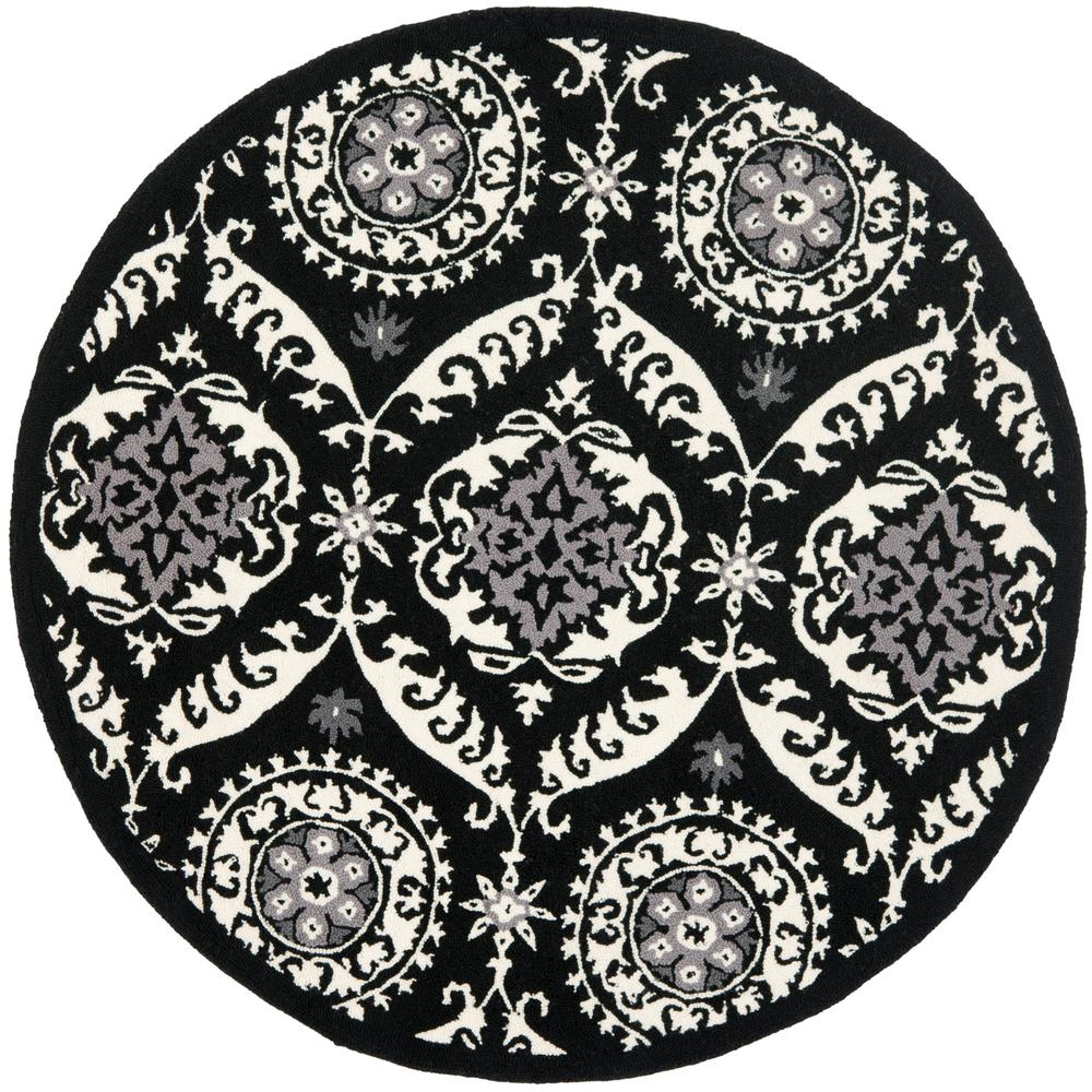 Chelsea Black/Ivory 4 ft. x 4 ft. Round Area Rug