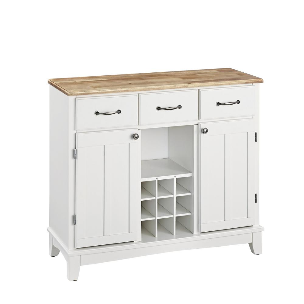 Home Styles White and Natural Buffet with Wine Storage  sc 1 st  Home Depot & Home Styles White and Natural Buffet with Wine Storage-5100-0021 ...