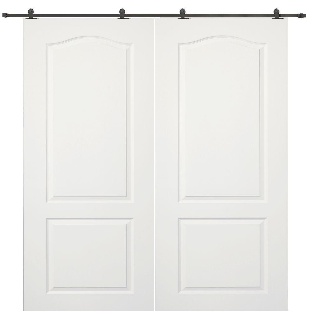 Milliken Millwork 60 in. x 80 in. Princeton Smooth Composite Double Barn Door with Sliding Door Hardware Kit