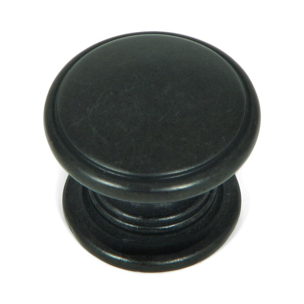 Stone Mill Hardware Saybrook 1-1/4 in. Antique Black Round Cabinet ...
