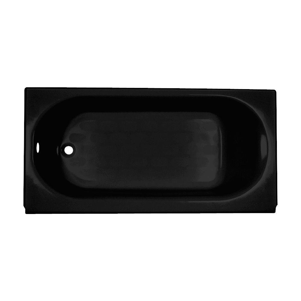American Standard Princeton 5 ft. Left Drain Americast Bathtub with Integral Apron and Luxury Ledge in Black-DISCONTINUED
