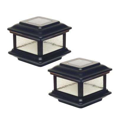 Colonial 3.5 in. x 3.5 in. Outdoor Black Cast Aluminum LED Solar Post Cap (2-Pack)