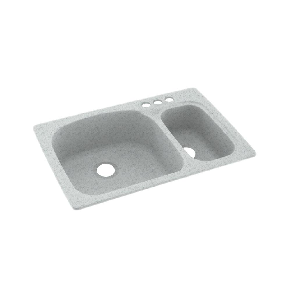 Dual Mount Solid Surface 33 In X 22 3 Hole 70 30 Double Bowl Kitchen Sink Tahiti Gray